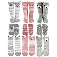 Baby Girl Knee High Long Socks Non Slip Toddler Socks 6-24 Months Anti Slip Non Skid Leg Warmer Walker Baby Socks Gift Set, Best Gifts for 1 Year Old Girl from Tiny Captain (Small, Pink)