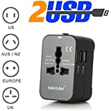 Adaptateur universel pour un meilleur voyage - MAXAH® Adaptateur universel de voyage + 2 ports USB/Tout-en-un adaptateur/adaptateur international/All-in-One Universal World Wide/Travel Adapter pour Union Européenne/UK/Australie/Etats-unis/Japon ---2.1 A - NOIR
