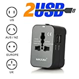 Adattatore Universale da Viaggio con 2 port USB MAXAH Tutto in uno adattatore All-in-One Universal World Wide Travel Adapter con indicatori accensione e 2 USB per Cina EU UK Australia USA Giappone --- 2 USB + 2.1 A (Nero)