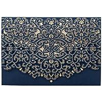 WISHMADE Tarjetas de Invitaciones de Boda 20X Azul Corte Con Laser Vendimia Floral Para Matrimonio Cumpleaños Invitación de Boda Nupcial Invita Con Sobres y Sellos (sistema de 50pcs)