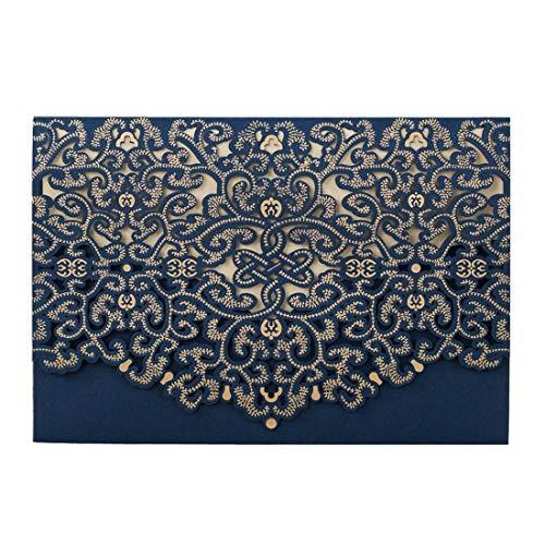 20X Einladungskarten Für Hochzeit Blau Spitze Blumen Lasercut Design Für Hochzeit Party Einladungen Karten Blanko Set 20 Stücke inkl Umschläge und Aufkleber