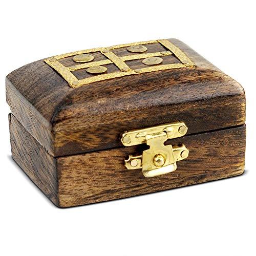 Brynnberg - kleine Mini Schatztruhe - 6,5x4,5x3,5cm Schatzkiste aus massives Holz - mit Deckel - für Ringe, Deko, Kinder, kleine Geschenke (Truhe Window) - Antike Ei-korb