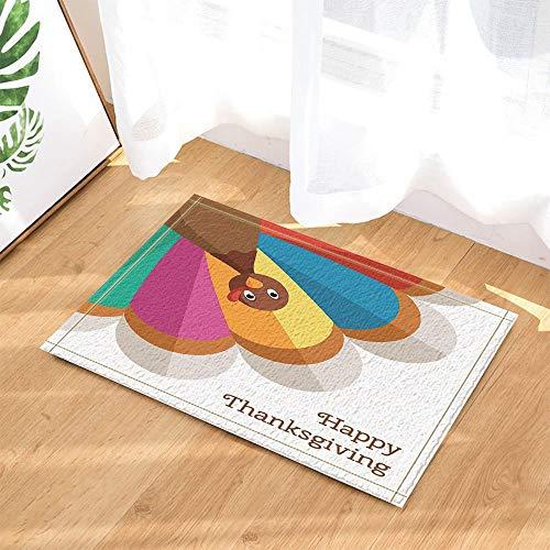 HTSJYJYT Festival Decor Bunte Türkei Vogel für Happy Thanksgiving CelebrationBath Teppiche rutschfeste Fußmatte Boden Eingänge Indoor Haustürmatte Kinder Badmatte 60X40CM Badzubehör (Türkei Ausschnitte Thanksgiving)