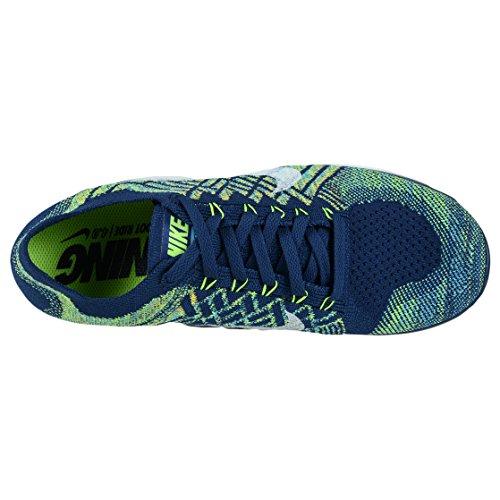 Nike Free Flyknit 4.0, Chaussures de running homme Blau / Weiß / Grün (Brave Blue / White-Black-Volt)