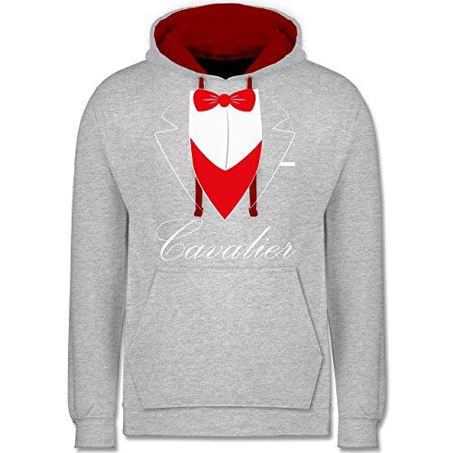 Statement Shirts - Cavalier Anzug - Kontrast Hoodie Grau Meliert/Rot