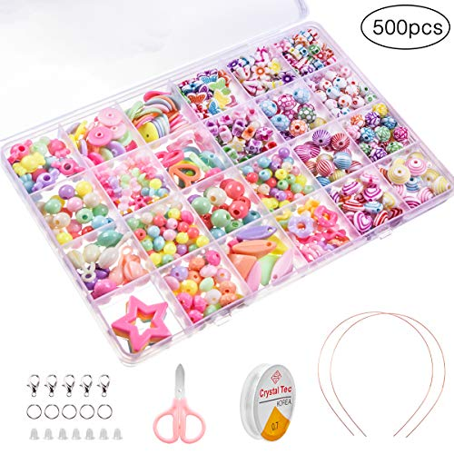 MELLIEX Enfants Bricolage Perles Set, 500pcs Bricolage Bracelets Colliers Cerceau Faisant des Kits, DIY Kit Art Craft & Kit de Fabrication Bijoux pour Enfants Filles