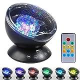 LEADSTAR Projektor Lampe Ozeanwelle Projektor LED Nachtlicht Lampe mit Fernbedienung, eingebauter Musikspieler und Lautsprecher für Kinder Baby Schlafzimmer Wohnzimmer, 7 Farbwechselmodi (Schwarz)
