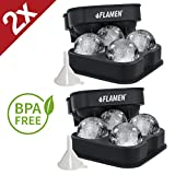2X PREMIUM Flamen XXL ICE BALL MAKER MOLD, 4x JUMBO Ice Spheres through BPA Free, Food grade Quality Silicone Press, BEST Ice Baller Tray Gadget for Whiskey, Gin and more, the essential BAR accessory