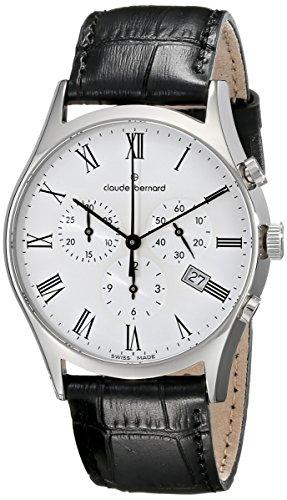 Claude Bernard MFG Men's 40mm Black Calfskin Band Steel Case Swiss Quartz White Dial Watch 10218 3 BR
