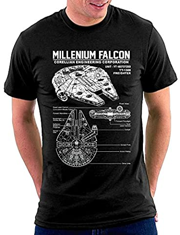Star Millenium Falcon T-shirt, Größe XL, Schwarz (Million Star)