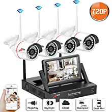 Home Wireless CCTV System, SWINWAY Wireless IP Security Camera Systems with 7 Inch Monitor Wifi NVR Kit 4 Channel 720P Indoor Outdoor Camera No Hard Drive,Easy Remoet Access,App,Plug and Play