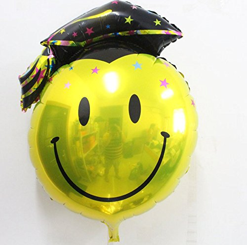 KAIMENG Graduación Globo Graduación Papel de fiesta Suministros de decoración de globos(Cara sonriente negra, 74 * 98 cm)