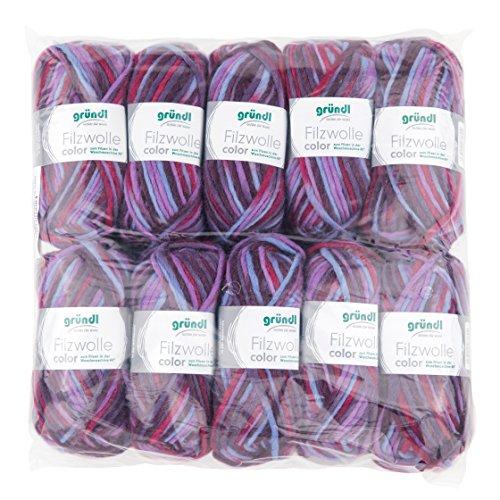 Gründl 2614/42 Feutre Laine Color, Avantage Pack : 10 à Tricoter 50 g, Laine, Fuchsia-Flieder-Hellblau Multicolor, 31 x 32 x 6 cm