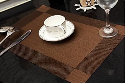 TechCode® 4pcs Placemat Vintage PVC Insulation Plaid Dining Table Mats