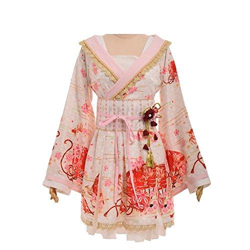 Kleid Kimono Kostüm - Double Villages Japanischen Stil Kimono Bademantel Kleid Anime Cosplay YUKATA Serie Japanischen Sommer Nette Mädchen Anime Cosplay Kostüme (Weiß, S)
