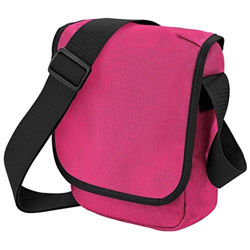Bagbase Mini Schultertasche / Messenger-Tasche, 2 l Fuchsia/Schwarz