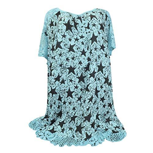 LOPILY Damenmode Oberteil Bluse Shirt Sommer Blumendruck Aushöhlen Schulter Bluse Tunika Tops Spitzensaum Patchwork Freizeit Oberteile Tops Shirt(X4-Blau,DE-44/CN-XL)