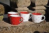 Tassen,rot-weiß gepunktet,Frühstücksset,oder Übertöpfe,6 Stück,11,5cm,Art.849/11,5