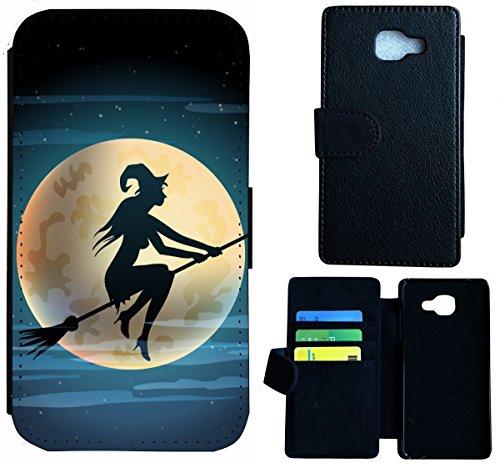 Flip Cover Schutz Hülle Handy Tasche Etui Case für (Samsung Galaxy A5 (Modell 2016) A510, 1508 Hexe Besen Halloween (Besen Mini Hexe)