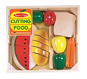 Melissa & Doug 487 Cutting Food - Play Food Set With 25+ Hand-Painted Wooden Pieces Knife and Cutting Board