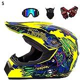 Casco da Motocross per Fuori-Strada - 4PCS Set di caschi da Corsa da Strada per Casco Integrale da...
