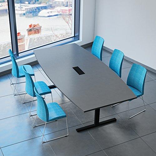 Weber Büro EASY Konferenztisch Bootsform 240x120 cm Anthrazit mit Elektrifizierung Besprechungstisch Tisch, Gestellfarbe:Schwarz