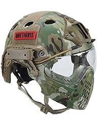 onetigris Táctica Casco con máscara y gafas de protección para airsoft, Paintball Helm mit Gesichtsschutzsystem, MC
