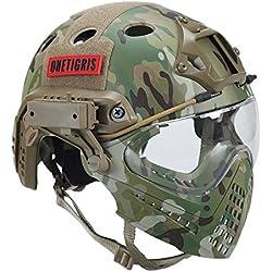 OneTigris F22 Casque Intégré Tactique Avec le Système De Protection Faciale Amovible Pour Airsoft (Camouflage)