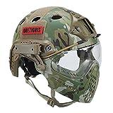 OneTigris, Casco tattico con maschera e occhiali di protezione per softair, Paintball Helm mit Gesichtsschutzsystem, MC, Kopfumfang: 52-60cm