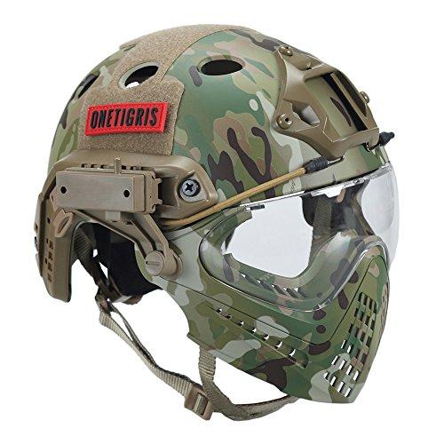 Casco táctico, de OneTigris, con máscara y gafas de protección, para Softair, color MC, tamaño Kopfumfang: 52-60cm