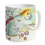 """okoukiu color flores elefante taza taza de café taza de té–regalo para cumpleaños, Navidad y nuevo year-3.7""""x 3.1"""", 11oz"""