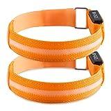 kwmobile 2X LED Leucht Armband Leuchtband - Laufen Joggen - Leuchtarmband Licht für Kinder und Erwachsene - Blinklicht