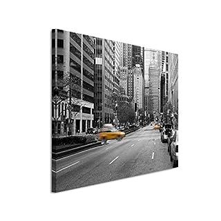 Paul Sinus Art Kunstfoto auf Leinwand 60x40cm Naturfotografie - Gelbe Taxis in New York City, USA auf Leinwand Exklusives Wandbild Moderne Fotografie für Ihre Wand in Vielen Größen