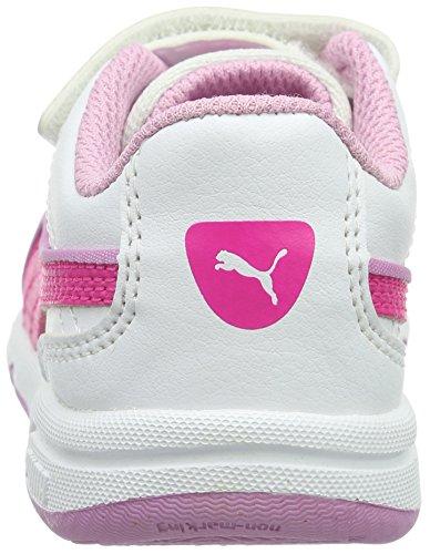 Puma Stepfleex Fs Sl V, Baskets Basses Mixte Enfant Blanc - Weiß (puma white-pink Glo 18)