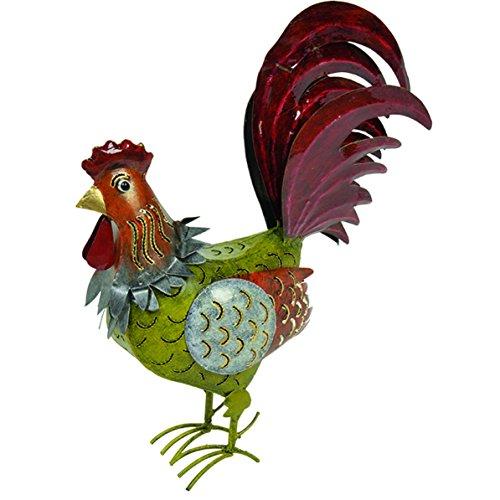 Medusa Hahn ''Erich'' | Größe S 39x14x34 cm | leuchtend grün-orange-rot | mit Flügelklappe für Teelicht oder Lichterkette -