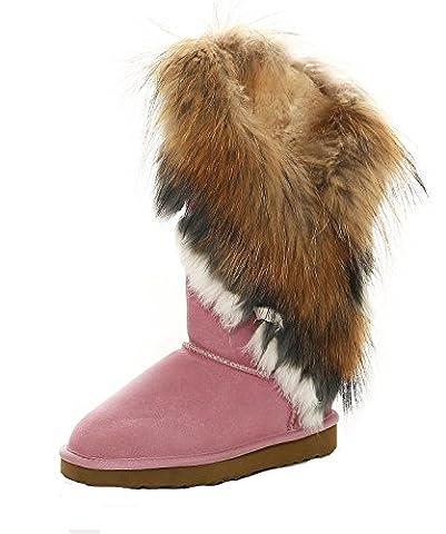 SKUTARI - Damen Yeti Boots - Wildleder, Rosa, Echtfellbesatz, Gefüttert, Farbton:Rosa;Groesse:39