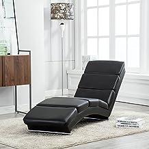 UEnjoy Chaise longue fauteuil lounge en similicuir noir