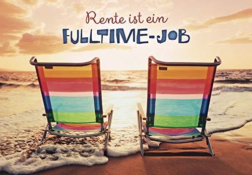 DeCoArt... 1 Umschlagkarte Grusskarte Rente ist ein Fulltime-Job Liegestuhl am Strand Meer 11,5 x 16,6 cm