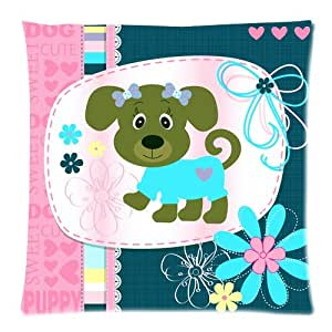personalized housse de coussin cute cartoon puppy dog picture zippered throw pillow cover. Black Bedroom Furniture Sets. Home Design Ideas