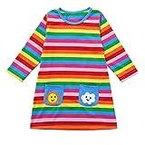Kobay Babykleidung Mädchen Weihnachten Langarm-Cartoon-Regenbogen-gestreifter Kleidungs-Kleid(4-5T,Mehrfarbig)