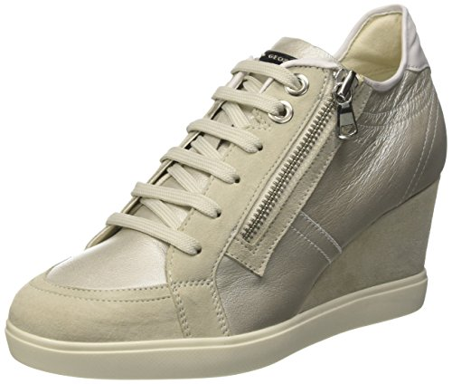 Geox D Eleni A, Sneakers Basses Femme Argent (Platinum/Ivoryc2228)