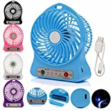 Insasta 3 Speeds Electric Portable Mini fan, II Rechargeable Desktop Fan Battery and USB Charge Cable, Multi-color