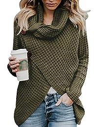 Cayuan Jerseys De Punto para Mujer Cuello de Tortuga Manga Larga Suelto Prendas de Punto Suéter Jerséis Tops Cálido Otoño Invierno