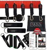 PULSUS fit Fitnessband Set Inklusive Fitness und Trainingsvideo App, 5 Widerstandsbänder, Griffe, Fußschlaufen, Türanker & Tragetasche