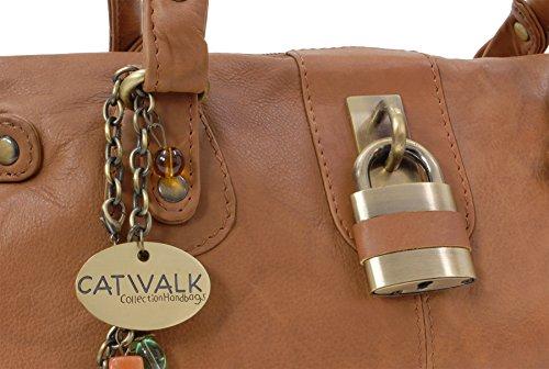 """Lederhandtasche """"Chancery"""" von Catwalk Collection - Größe: B: 34,25 H: 16 T: 9 cm Hellbraun"""