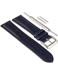 Beauty7 Kits de 18mm Correas de Azul Real Piel de Vaca de Relojes para Mujeres Cuero Hebillas Acero Inoxidable Elegante Moda Durable Impermeable