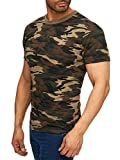 Herren T-Shirt Camouflage Slim Military Army, Farben:Braun, Größe T-Shirt:L