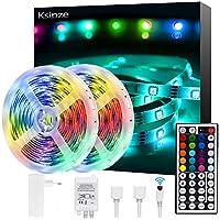 Ruban LED 2x5m (10m au total), Ksipze Bande LED 300 LEDs 5050 RGB Guirlande Lumineuse Dimmable avec Télécommande, Ruban Auto-adhésif, Lumière Décorative Blanche et Multicolore, Eclairage Intérieur