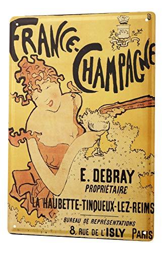 Blechschild Nostalgie Alkohol Retro Champagner