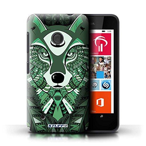 Kobalt® Imprimé Etui / Coque pour Nokia Lumia 530 / Loup-Sépia conception / Série Motif Animaux Aztec Loup-Vert